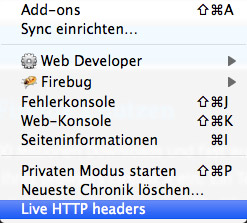 Screenshot Live HTTP Headers in Firefox 4