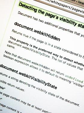 Screenshot Google Code Page Visibility API