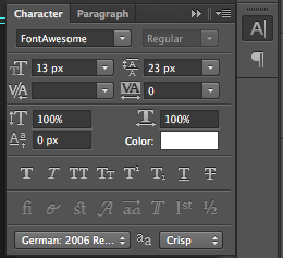 Font Awesome Photoshop Palette